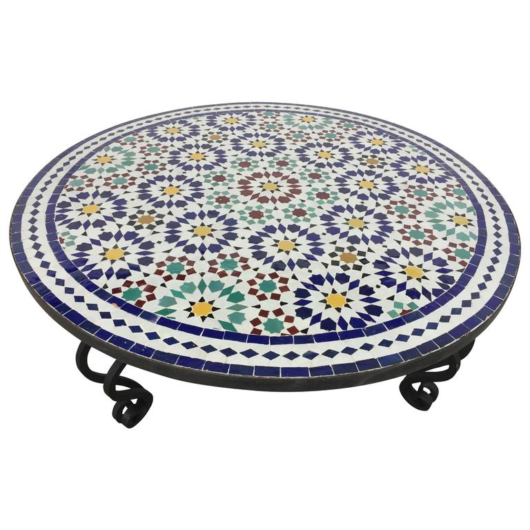 Moroccan Mosaic Round Tile Coffee Table On Iron Base For