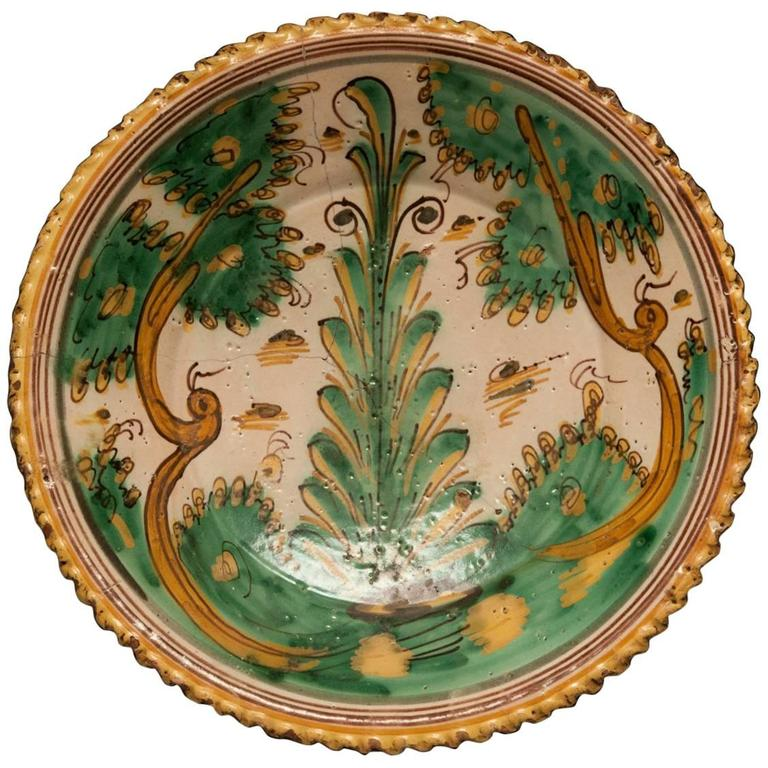 "Ceramic Platter, ""Tree of Life Motif"" For Sale"
