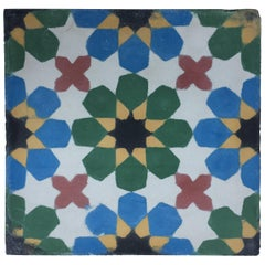 Moroccan Hand-Painted Cement Tile with Traditional Fez Moorish Design