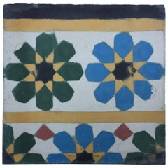Moroccan Encaustic Cement Tile Border with Fez Moorish Design