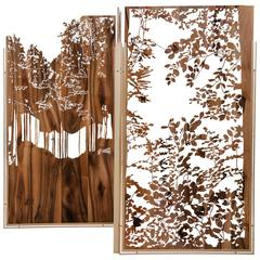 Original Hand-Sculpted Walnut Screen, Silva3, Clothilde Gosset
