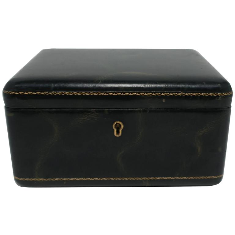 Vintage European Green Leather Jewelry Box