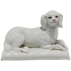 Midcentury Italian White Porcelain Dog Sculpture