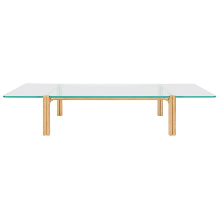 CA21G Contemporary Handcrafted Minimalist Modern Beech and Glass Coffee Table