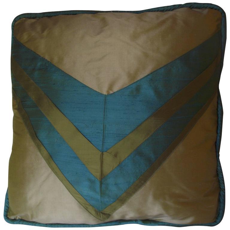 Art Deco Throw Pillow, Original Designed Throw Pillow, Blue and Green Pillow For Sale