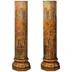 Pair of 18th Century Italian Classical Sienna Marble Rouge Column Pedestals