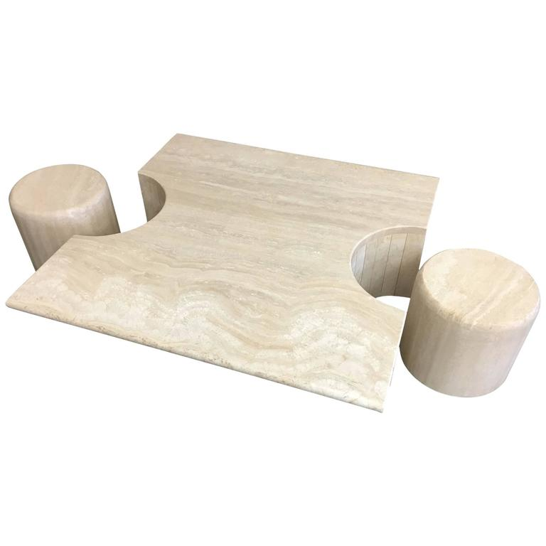 Sculptural Italian Travertine Cocktail Table