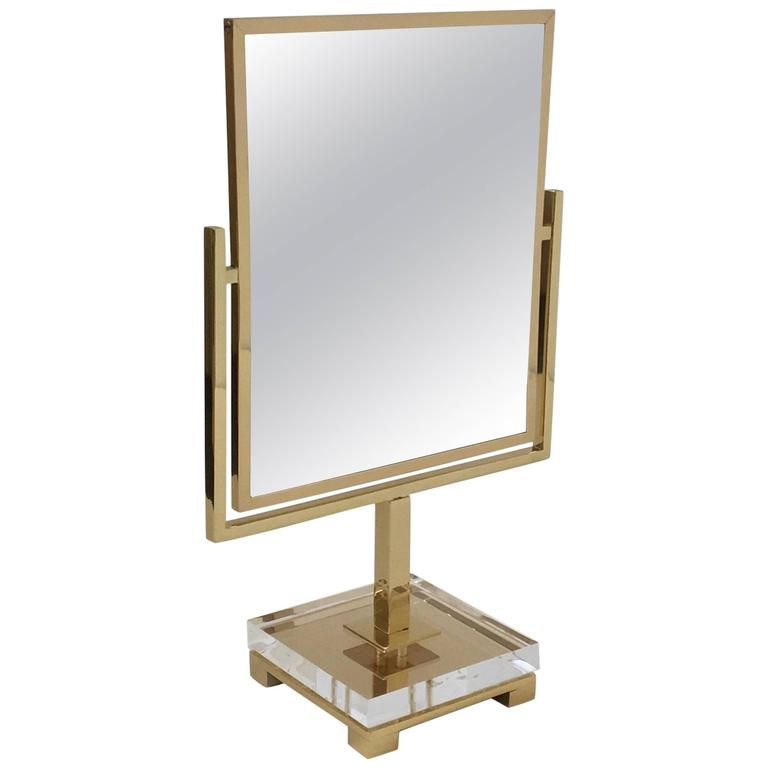 Polished Brass and Acrylic Vanity Mirror by Charles Hollis Jones 1