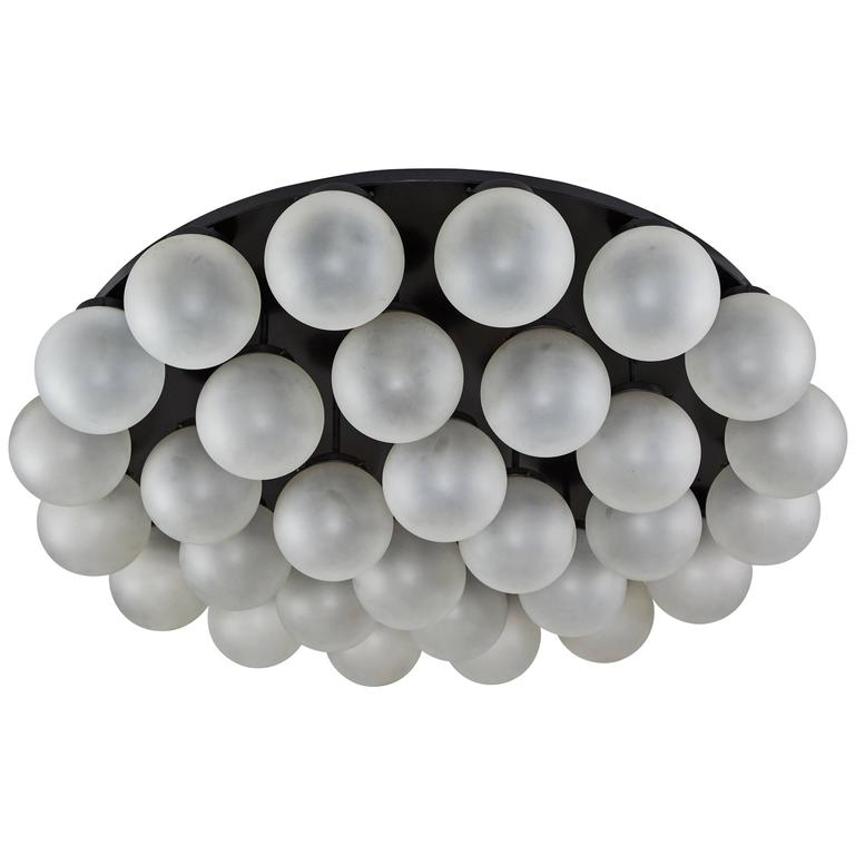 Monumental Thirty Globe Italian Flush Mount Ceiling Light For Sale