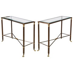 Pair of Bronze and Glass Top Console Tables