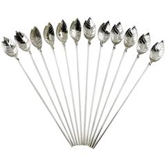 Tiffany and Co. Sterling Mint Julep Spoons / Straws, Set of 12