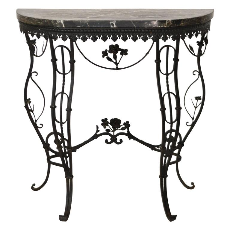 Hollywood Regency Style Italian Wrought Iron Console Table With Marble Top For