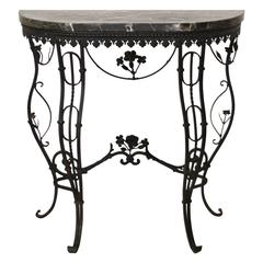 Hollywood Regency Style Italian Wrought Iron Console Table with Marble Top