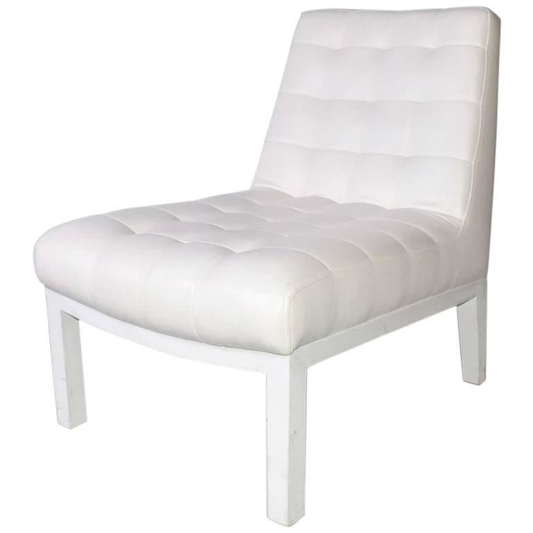 Contemporary Tufted Leather Slipper Chair
