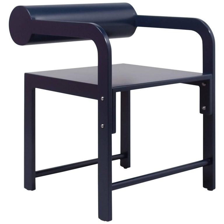 Waka Waka Zeitgenössischer Indigoblau Lackierter Stuhl mit Zylinderlehne 1