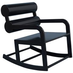 Waka Waka Contemporary Black Lacquered Double Cylinder Back Accent Rocking Chair