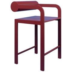Waka Waka Zeitgenössischer Pompeii Rot Lackierter Stuhl mit Zylinderlehne