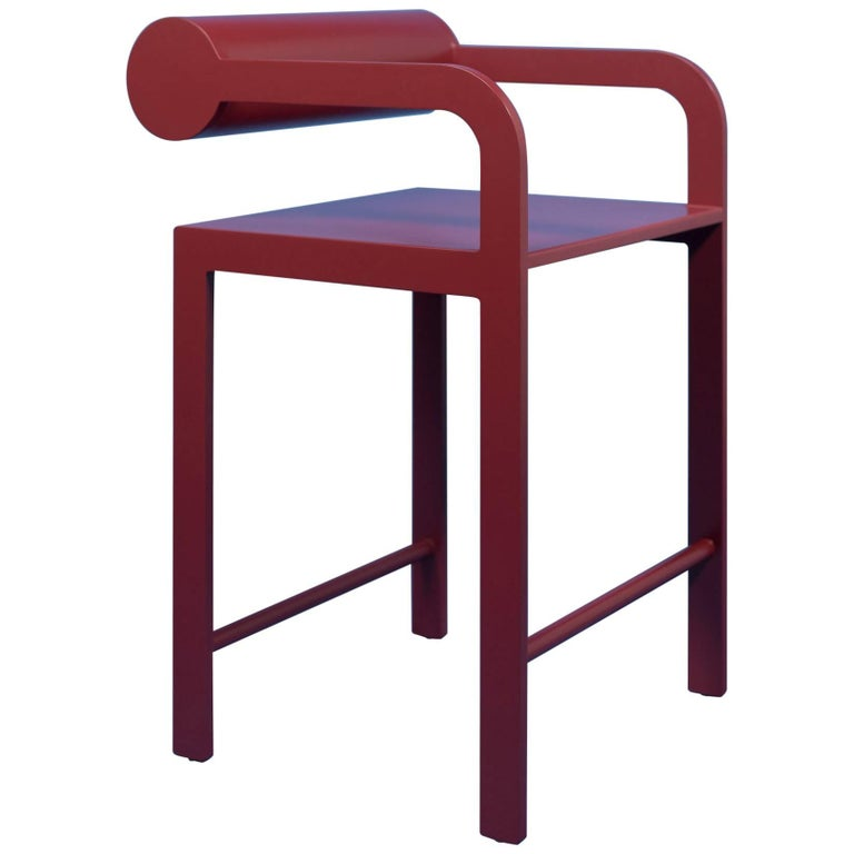 Groovy Waka Waka Contemporary Pompeii Red Lacquer Cylinder Back Accent High Armchair Ibusinesslaw Wood Chair Design Ideas Ibusinesslaworg