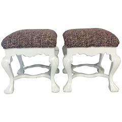Pair of Chippendale White Lacquered Mahogany CHANEL Boucle Upholstered Benches