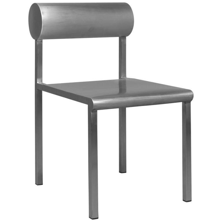 Waka Waka Zeitgenössischer Akzent Stuhl aus Edelstahl mit Zylinderförmiger Rückenlehne 1