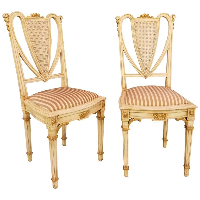 Pair Petite French Painted Side Chairs