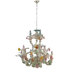 Large Murano Glass and Wood Chandelier Venice, Italy, 19th Century