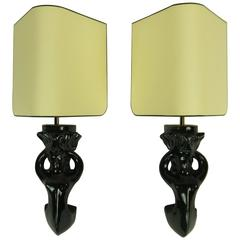 Pair of 1950s Ceramic Sconces by Paul Pouchol