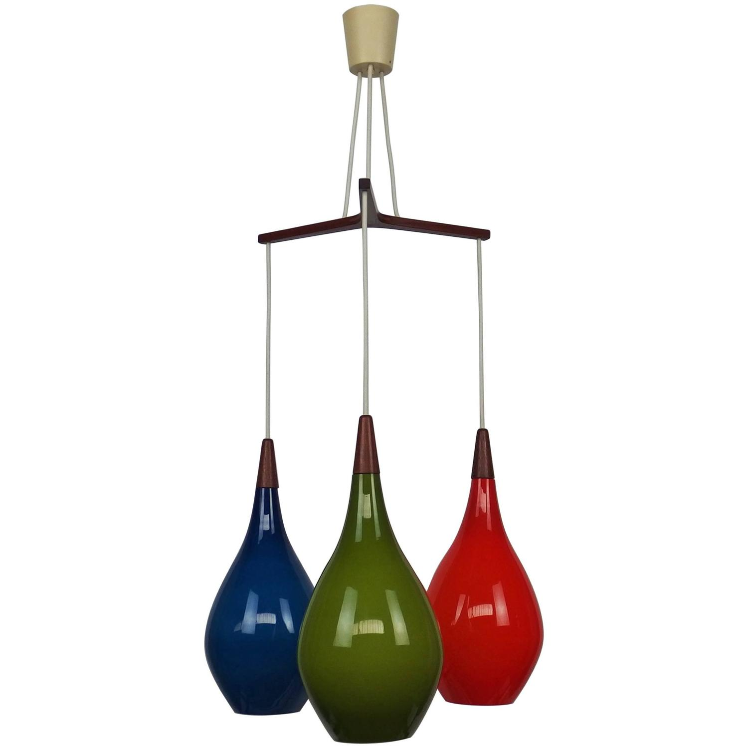 Colorful Glass and Teak Chandelier by Holmegaard 1960s For Sale