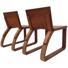 Beautiful Pair of Oak Easy Chairs Design by Audoux Minet, circa 1950