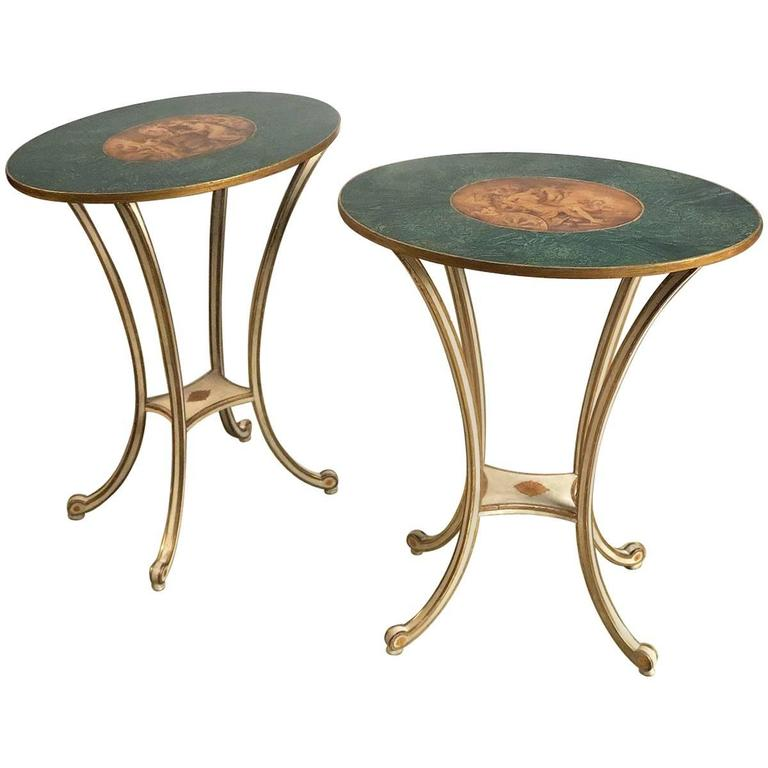 Fine Pair of George III Side Tables in Angelica Kauffman Style
