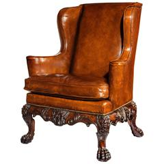 Handsome Late Victorian Leather Carved Wing Chair