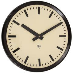 Huge Bakelite Industrial Train Station Wall Clock in Excellent Condition, 1940s