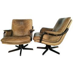 Pair of Mid-Century Danish Leather Swivel Armchairs