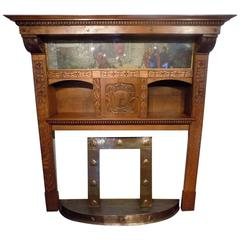 Magnificent and Rare Oak Arts & Crafts Period Fireplace