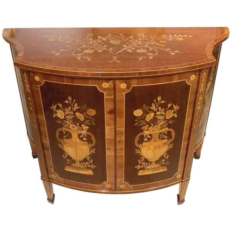 Stunning Quality Marquetry Inlaid Edwards & Roberts Serpentine Side Cabinet