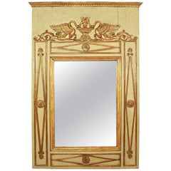 Early Empire Parcel-Gilt and Painted Trumeau Mirror