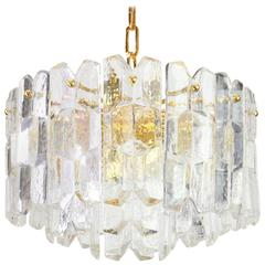 Stunning Gilt Brass, Crystal Glass Light Fixture Palazzo, Kalmar, Austria, 1970
