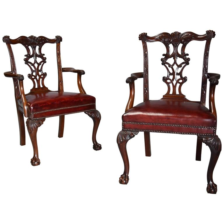 Pair of Late 19th-Early 20th Century Chippendale Style Mahogany Open Armchairs
