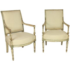 Pair of Late 18th Century Directoire Paint Wood Fauteuils or Armchairs