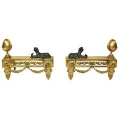 Pair of 19th Century Napoleon III Chenets or Andirons