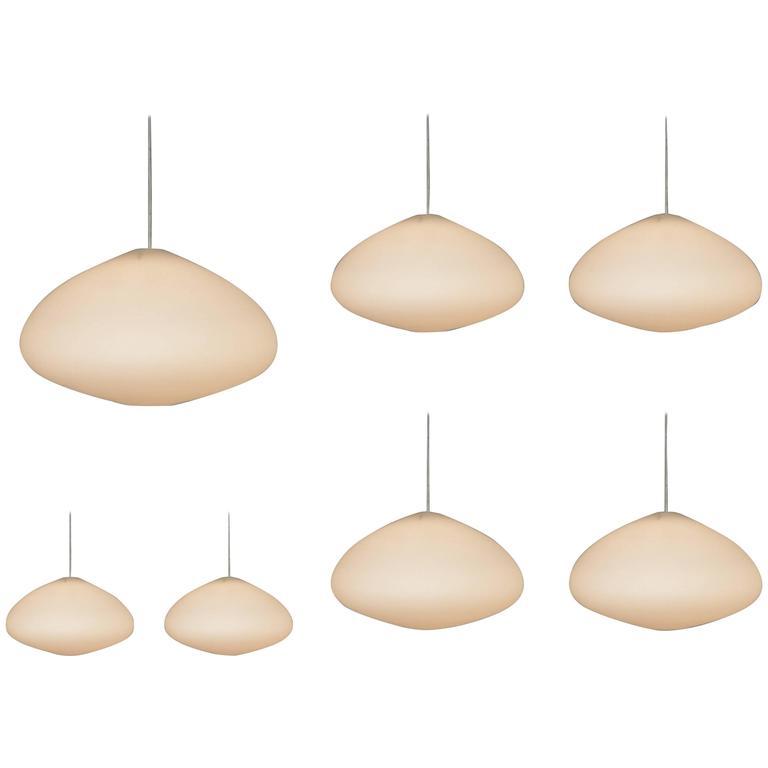 Large Opaline Glass Pendant Lamps, Netherlands, 1960s