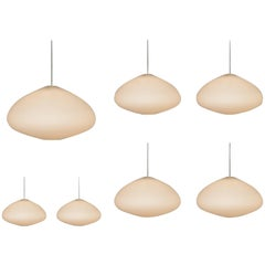 Large Opaline Glass Pendant Lamps, Netherlands, 1960s