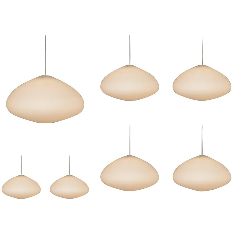 Large Opaline Glass Pendant Lamps, Netherlands, 1960s For Sale
