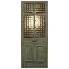 Painted Pine Front Door With Fixed Stained And Leaded Glass ...
