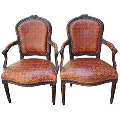 Pair of Late 18th Century Armchairs in Cordoban