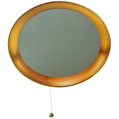 Luminated Mirror on a Perforated Frame, Netherlands, 1950s or 1960s