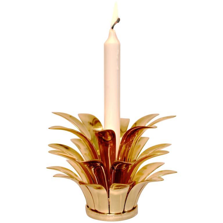 Stackable Handmade Cast Brass Pineapple Candleholder