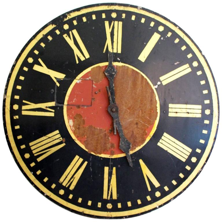 Very Large French 1930s Painted Metal Clock Face For Sale