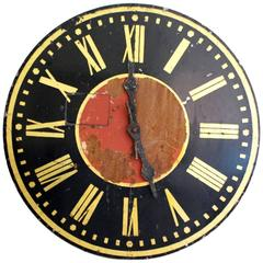 Very Large French 1930s Painted Metal Clock Face