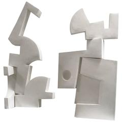 Abstract Pair of Modernist Sculptures in Plaster by Gareth D. Smith